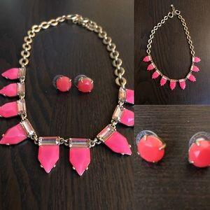 Stella & Dot Pink Eye Candy Necklace, Earrings